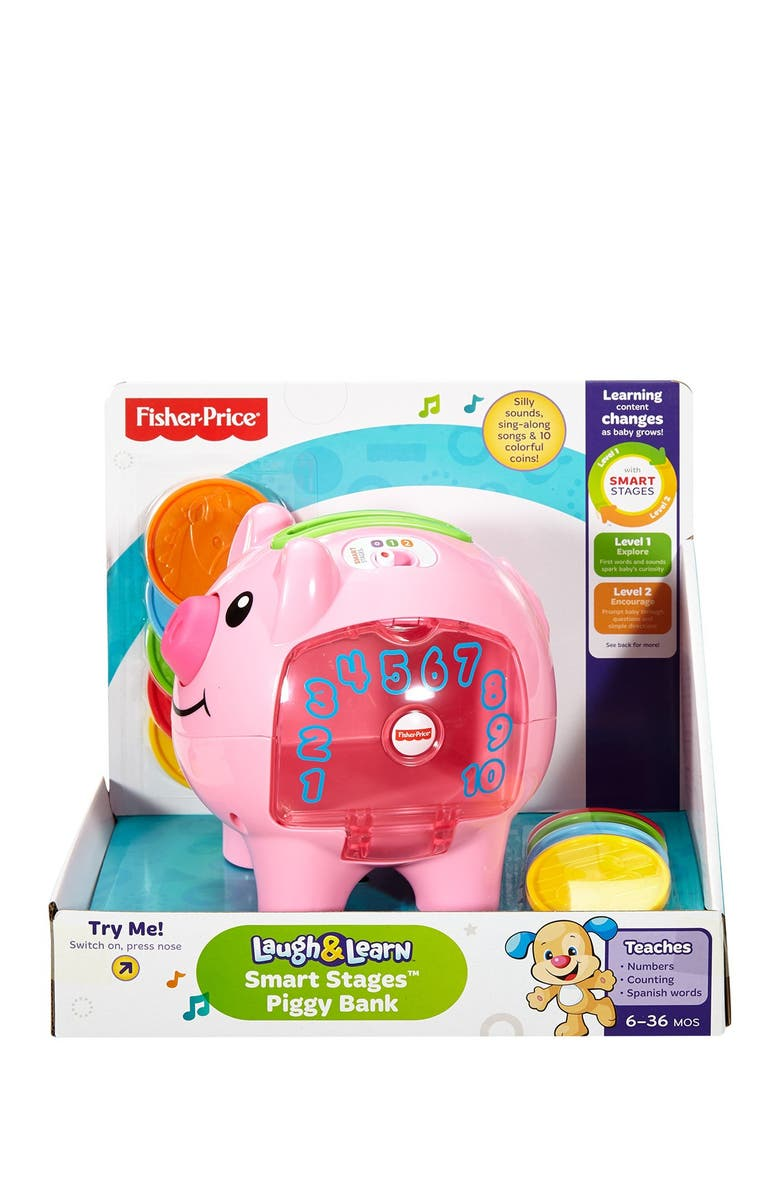 FISHER PRICE Laugh & Learn Smart Stages Piggy Bank, Main, color, ASST