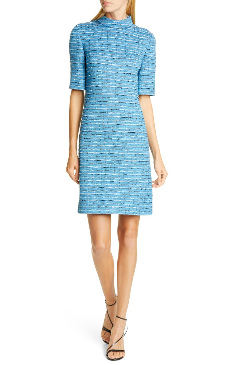 ST. JOHN COLLECTION Artisanal Space Dye Stripe Knit Dress, Main, color, 420