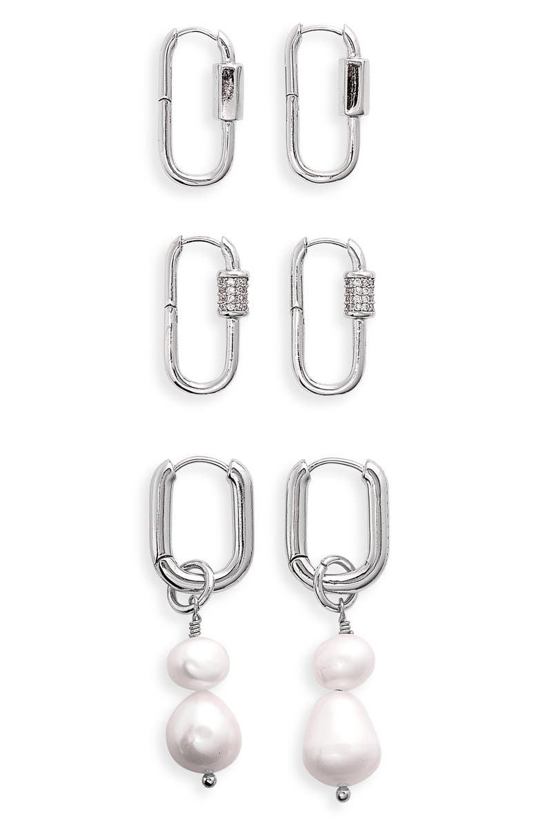 8 OTHER REASONS Assorted Set of 3 Earrings, Main, color, SILVER