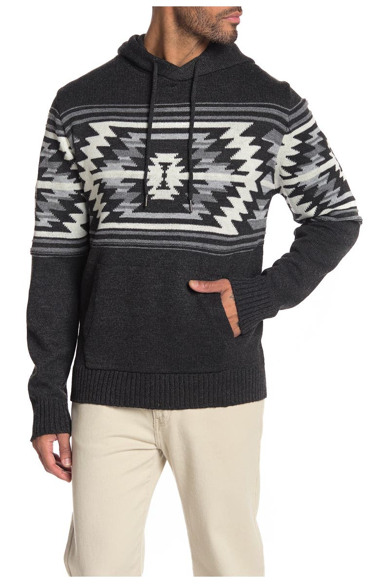 XRAY Accent Pattern Pullover Hoodie, Main, color, BLACK