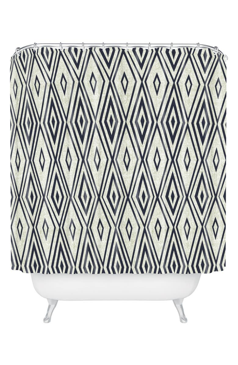 DENY DESIGNS Crystal Shower Curtain, Main, color, BLACK/ WHITE