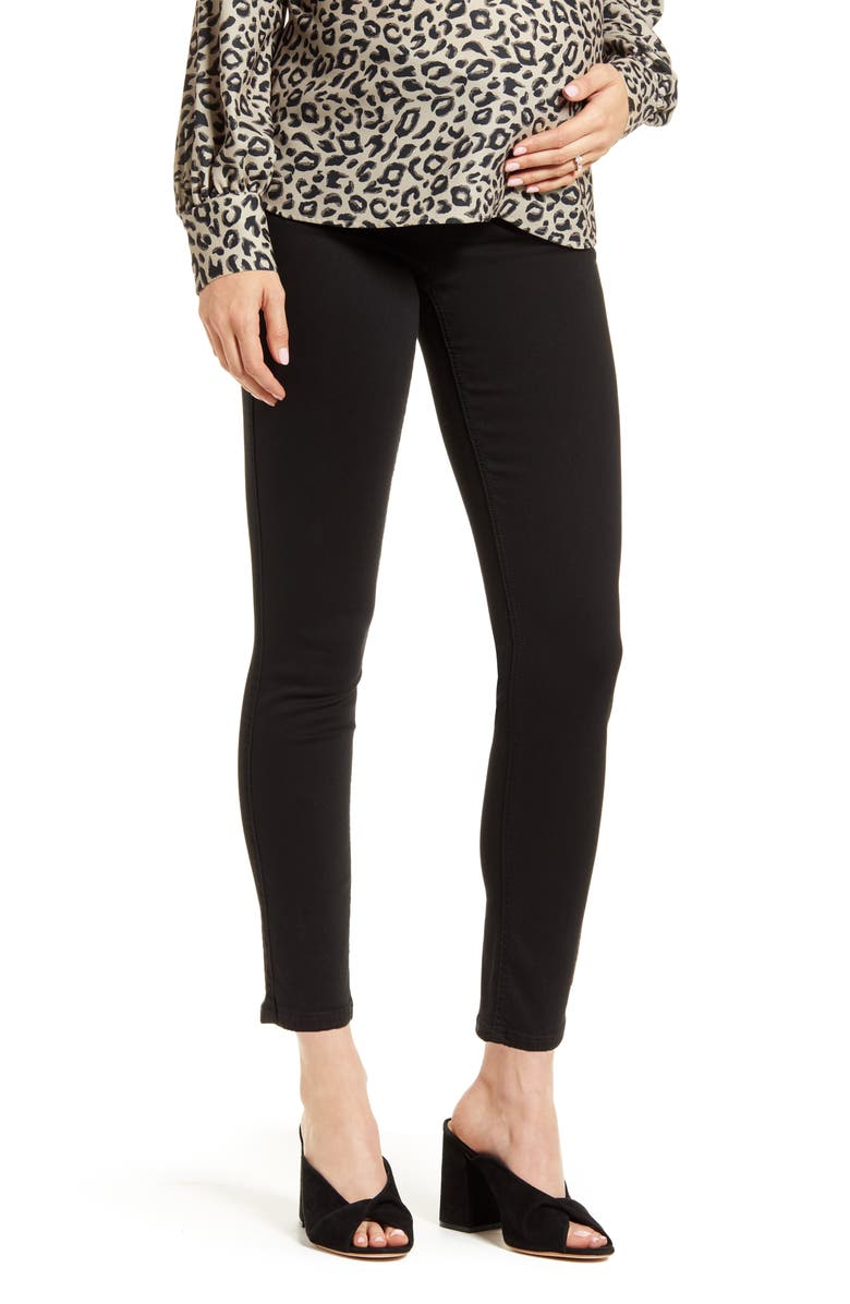 7 FOR ALL MANKIND<SUP>®</SUP> b(air) High Waist Ankle Skinny Maternity Jeans, Main, color, BAIR BLACK