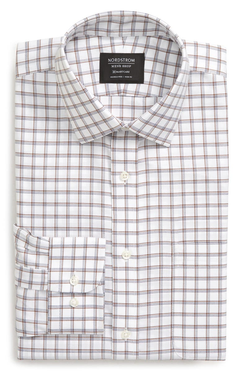 NORDSTROM MEN'S SHOP Smartcare<sup>™</sup> Trim Fit Plaid Dress Shirt, Main, color, 210