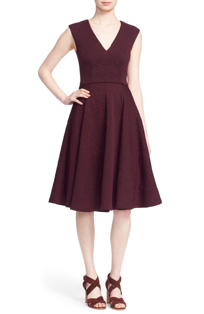 TED BAKER LONDON 'Dhamira' V-Neck Jacquard Fit & Flare Dress, Main, color, 603