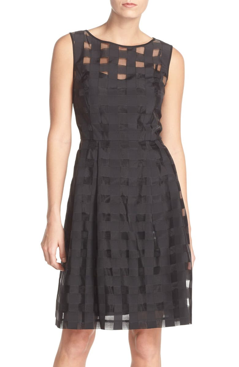 ELLEN TRACY Windowpane Check Fit & Flare Dress, Main, color, 001