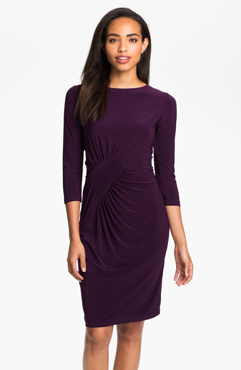 ADRIANNA PAPELL Asymmetrically Ruched Jersey Dress, Main, color, DEEP VIOLET