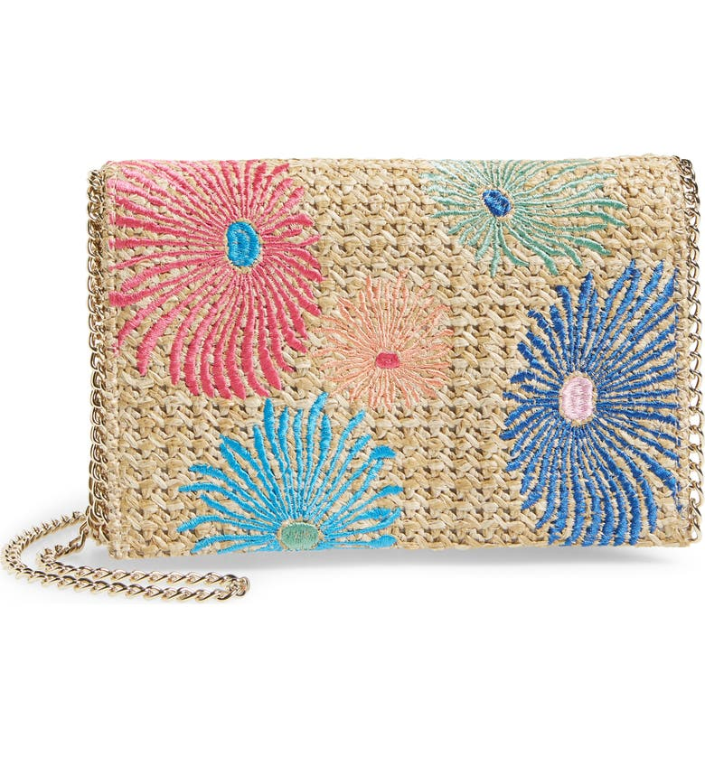 CHELSEA28 Embroidered Woven Straw Clutch, Main, color, 400