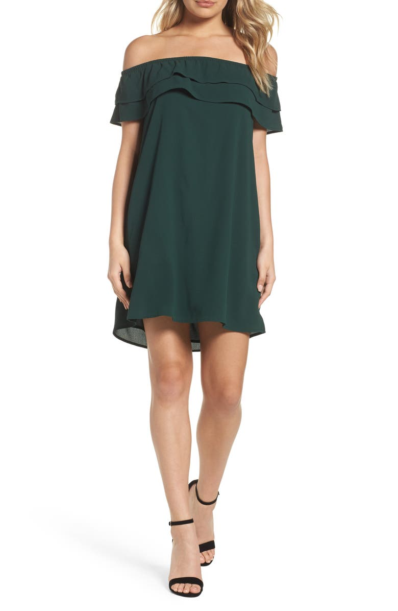 MARY & MABEL Off the Shoulder Ruffle Dress, Main, color, 301