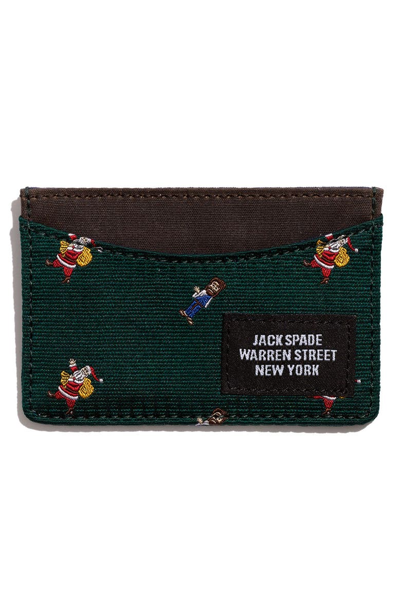 JACK SPADE Embroidered Silk Card Wallet, Main, color, GREEN