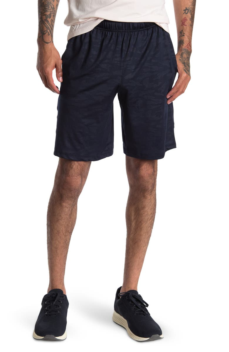 90 DEGREE BY REFLEX Embossed Basketball Shorts, Main, color, NAVY CAMO
