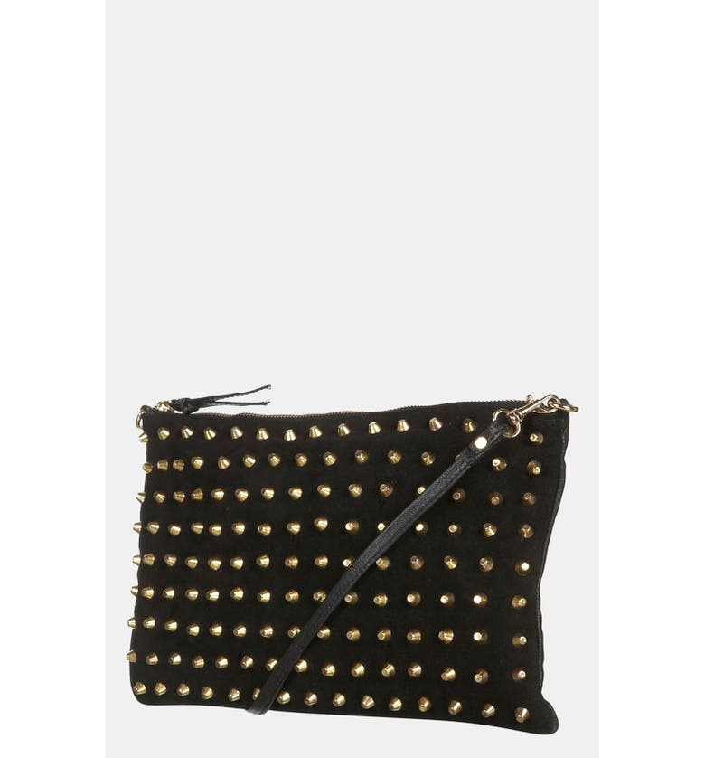 TOPSHOP Studded Suede Clutch, Main, color, 001