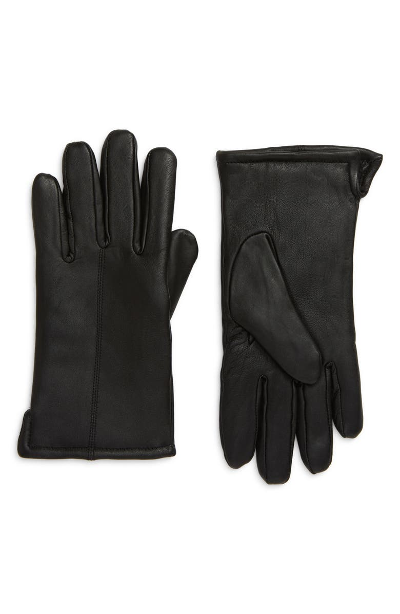 NORDSTROM Leather Gloves, Main, color, BLACK