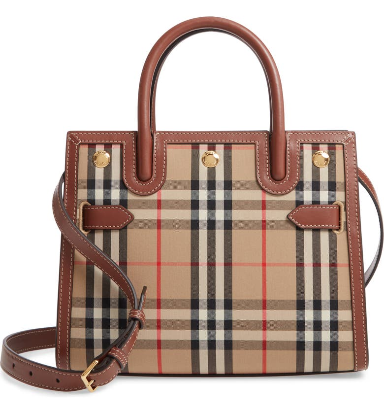 BURBERRY Small Title Check Double Handle Canvas & Leather Bag, Main, color, ARCHIVE BEIGE