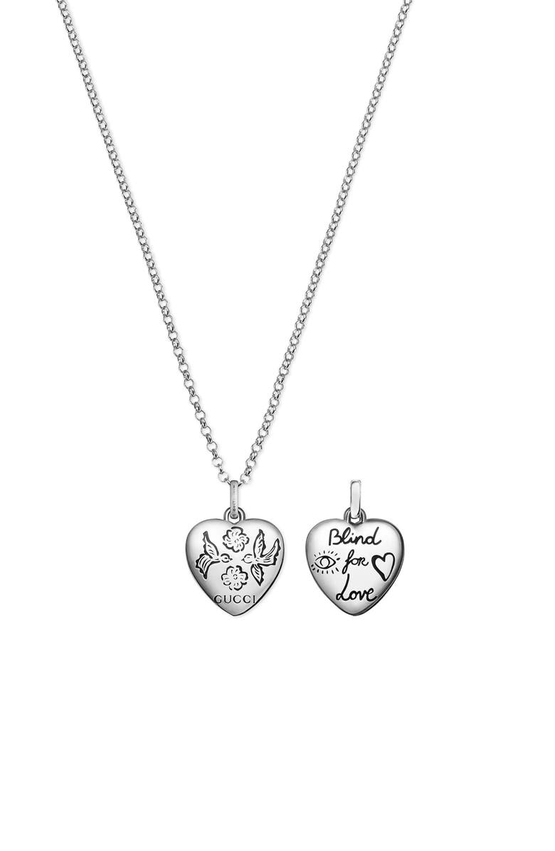 GUCCI Blind for Love Pendant Necklace, Main, color, STERLING SILVER