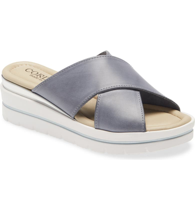 CORDANI Aramis Wedge Slide Sandal, Main, color, DENIM LEATHER