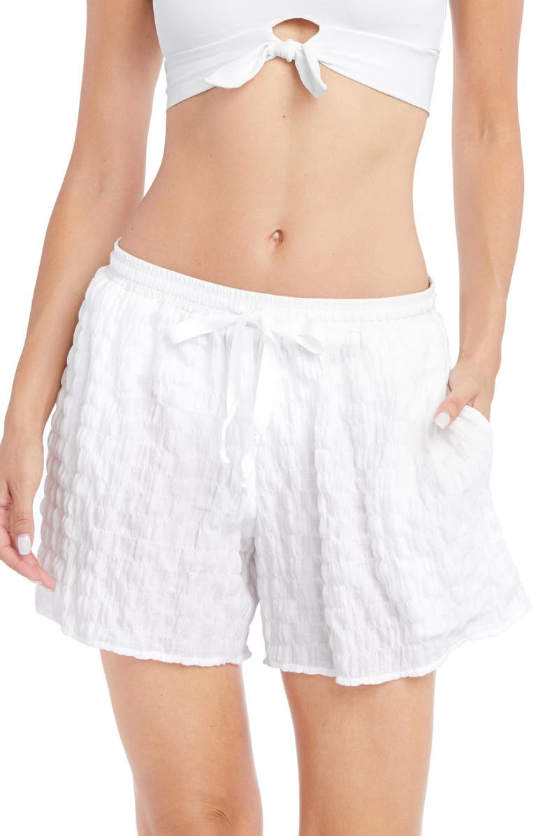 ROBIN PICCONE Fiona Cover-Up Shorts, Main, color, White