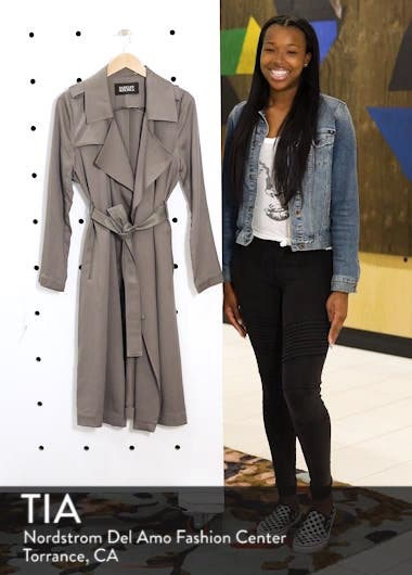 Badgley Mischka Faux Leather Trim Long Trench Coat, sales video thumbnail