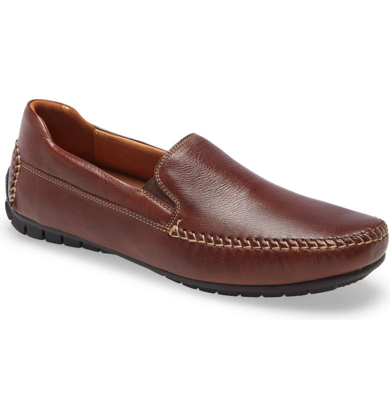 JOHNSTON & MURPHY Court Whipstitch Driving Loafer, Main, color, MAHOGANY