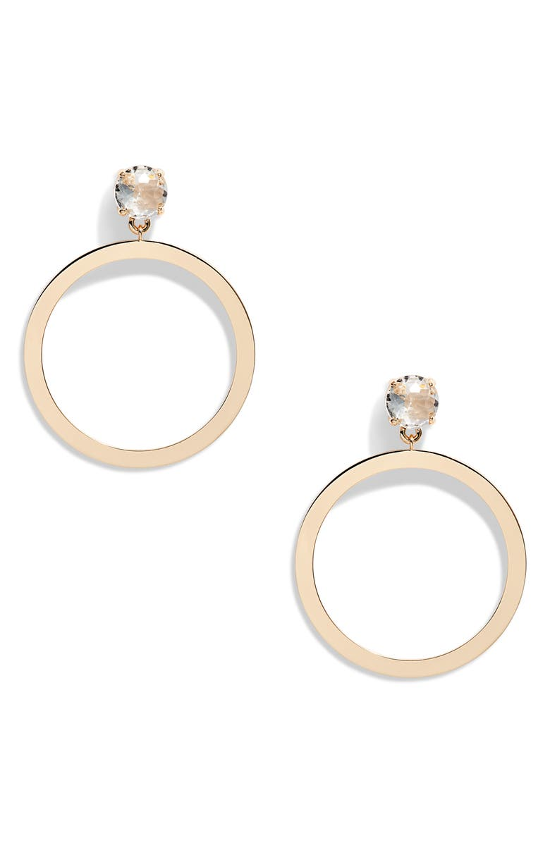 RACHEL PARCELL Crystal Frontal Hoop Earrings, Main, color, CLEAR- GOLD