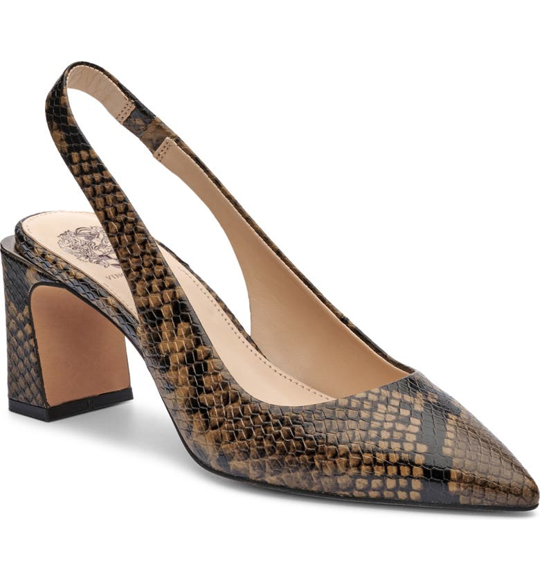 VINCE CAMUTO Hamden Slingback Pointed Toe Pump, Main, color, MILITARY GREEN PYTHON