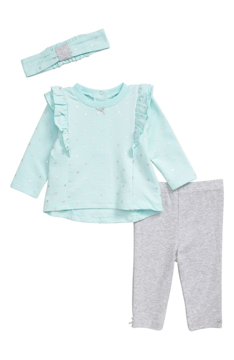 LITTLE ME Metallic Dot Shirt, Leggings & Headband Set, Main, color, 029