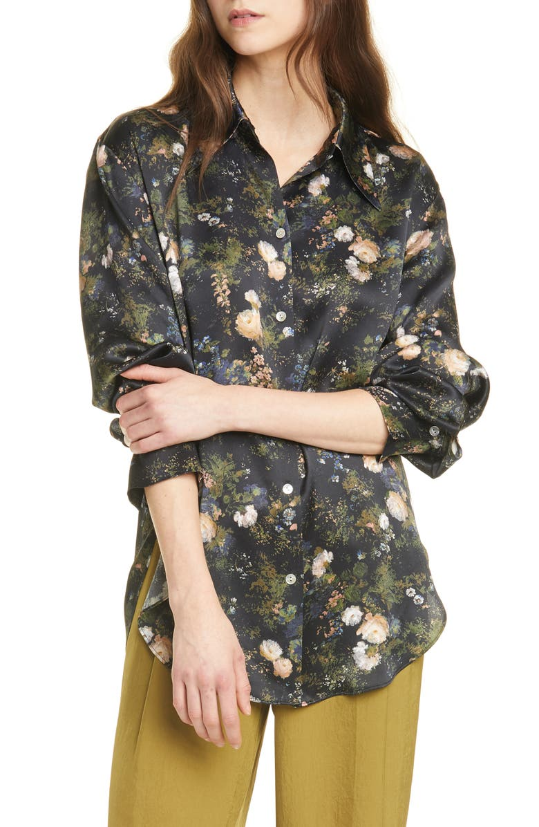 VINCE Rose Field Shaped Collar Silk Blouse, Main, color, PETAL GLOW