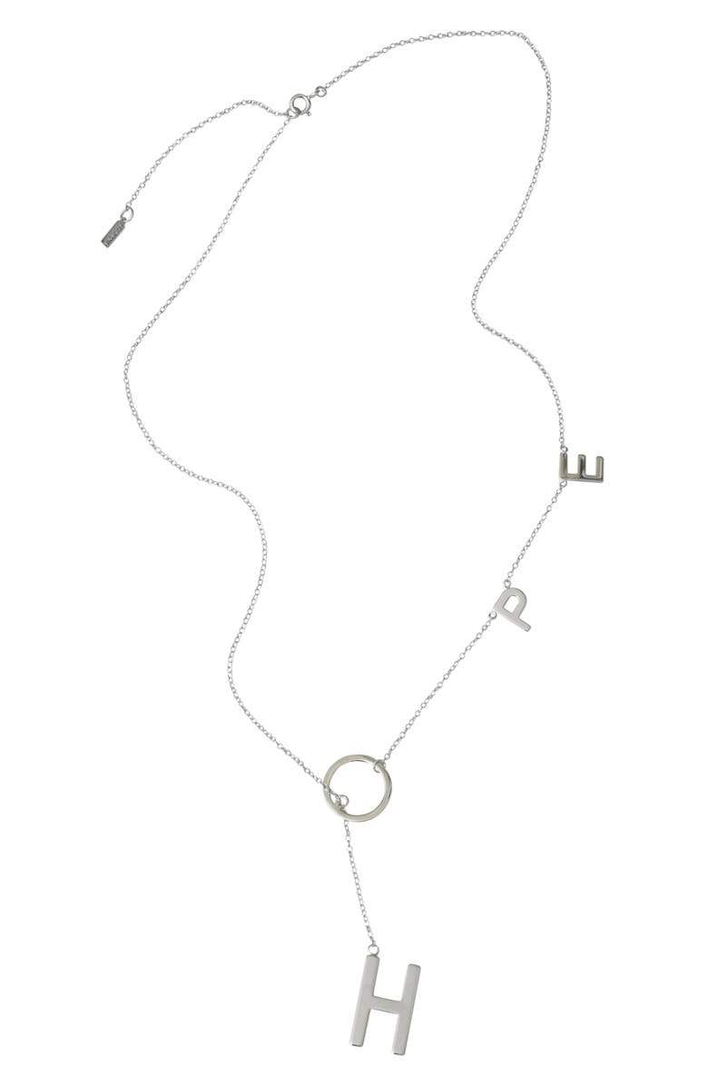 ADORNIA Rose Gold Plated Sterling Silver Hope Lariat Necklace, Main, color, 040