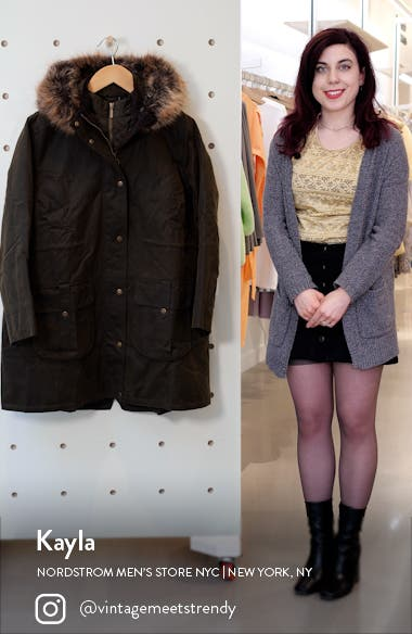 Homeswood Waxed Cotton Hooded Raincoat with Faux Fur Trim, sales video thumbnail