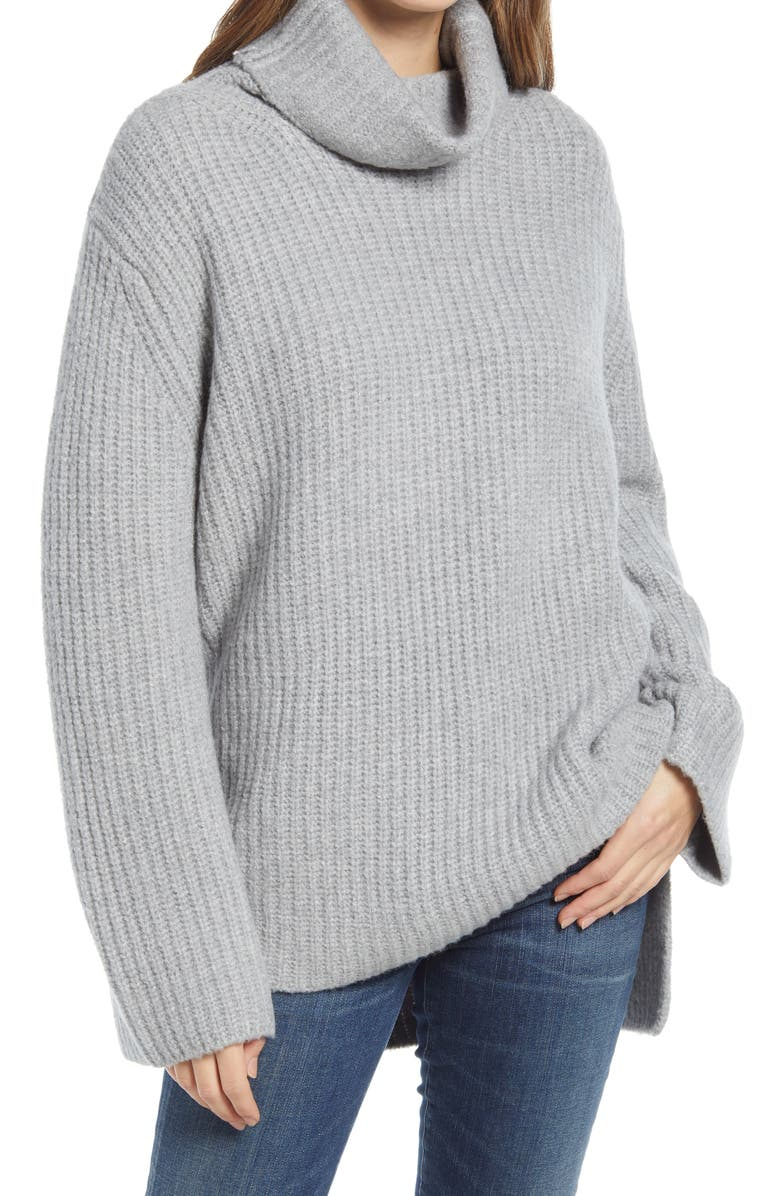 NORDSTROM Cozy Turtleneck Sweater, Main, color, GREY HEATHER
