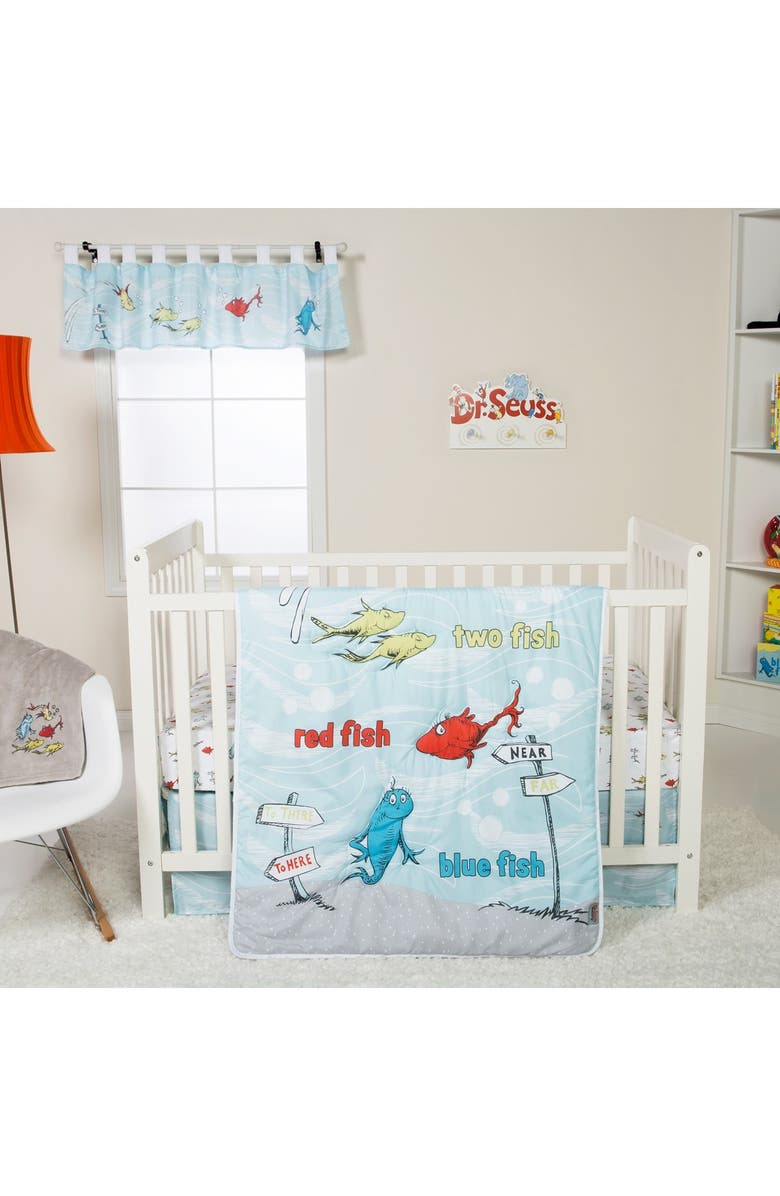 TREND LAB Dr. Suess One Fish Two Fish Crib Bedding Set - 4-Piece Set, Main, color, GRAY