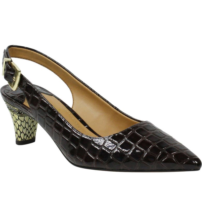 J. RENEÉ Mayetta Slingback Pump, Main, color, BROWN FAUX PATENT LEATHER
