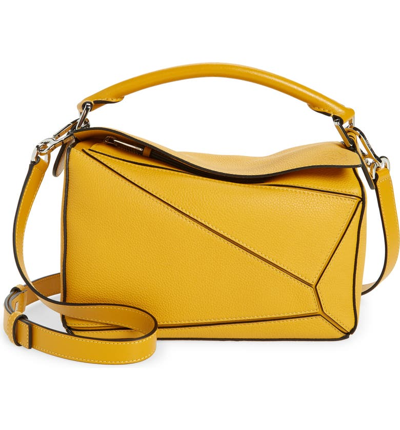 LOEWE Small Puzzle Leather Shoulder Bag, Main, color, NARCISUS YELLOW