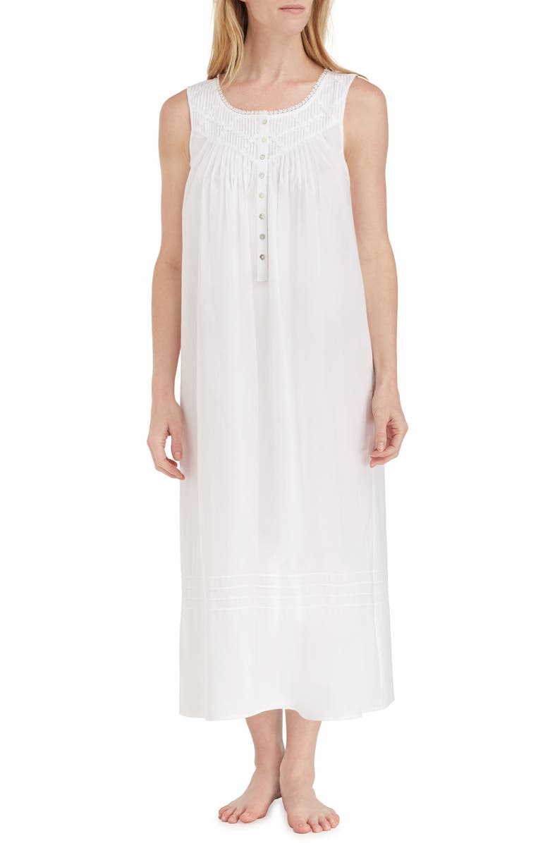 EILEEN WEST Cotton Lawn Ballet Nightgown, Main, color, SOLID WHITE