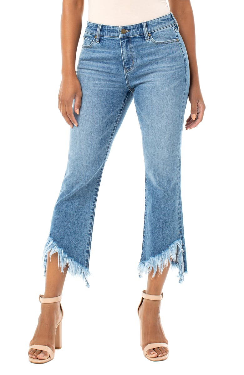 LIVERPOOL High Waist Chewed Step Hem Crop Flare Jeans, Main, color, HARDING