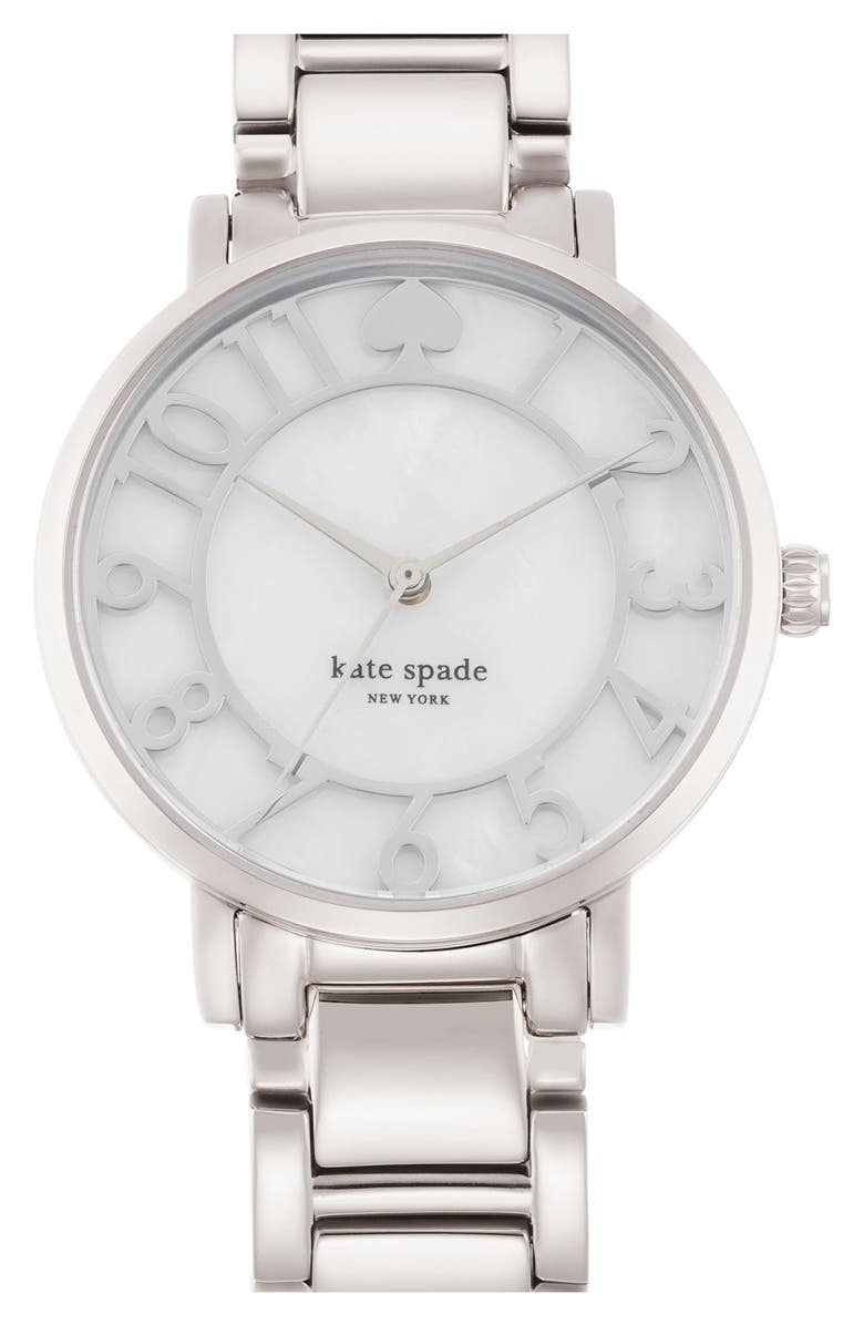 KATE SPADE NEW YORK 'gramercy' mother-of-pearl bracelet watch, 34mm, Main, color, 040