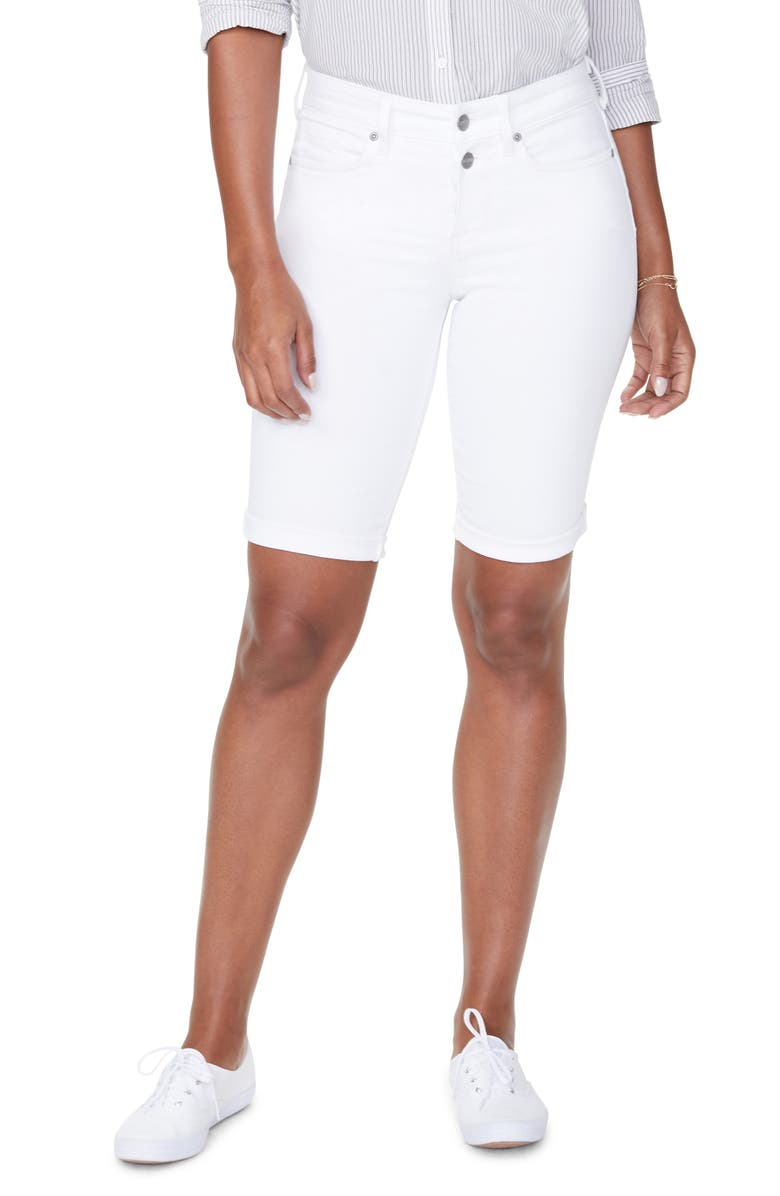 NYDJ Briella Roll Cuff Bermuda Shorts, Main, color, OPTIC WHITE
