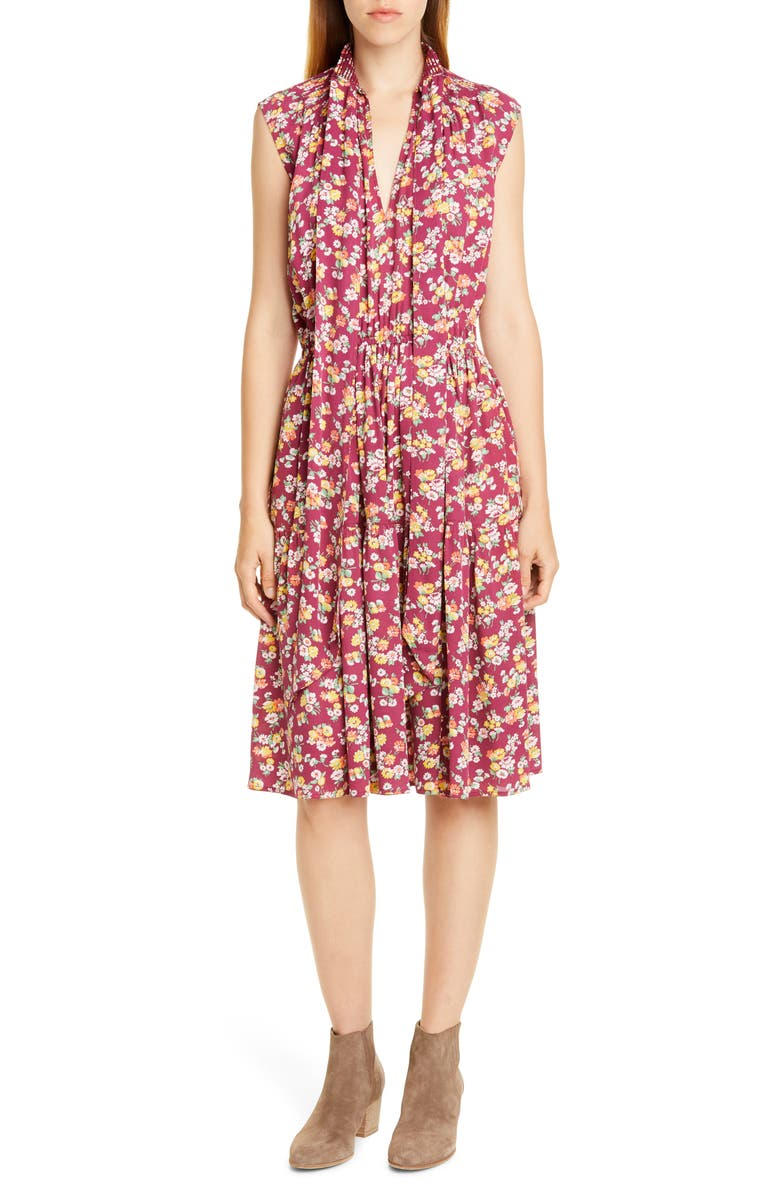 POLO RALPH LAUREN Tie Neck Floral Silk Dress, Main, color, 930