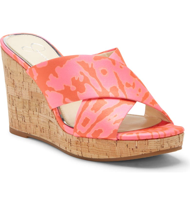 JESSICA SIMPSON Seena Platform Wedge Sandal, Main, color, NEON PINK CO FAUX LEATHER