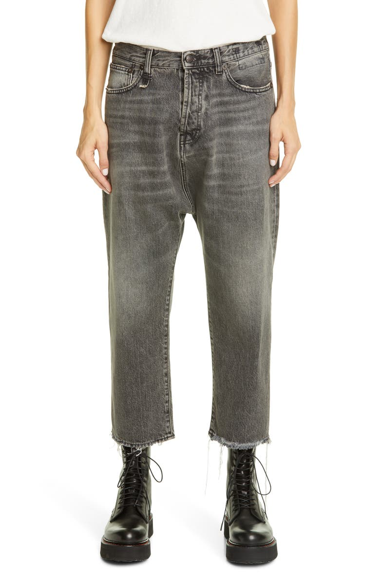 R13 Tailored Drop Crotch Jeans, Main, color, LEYTON BLACK