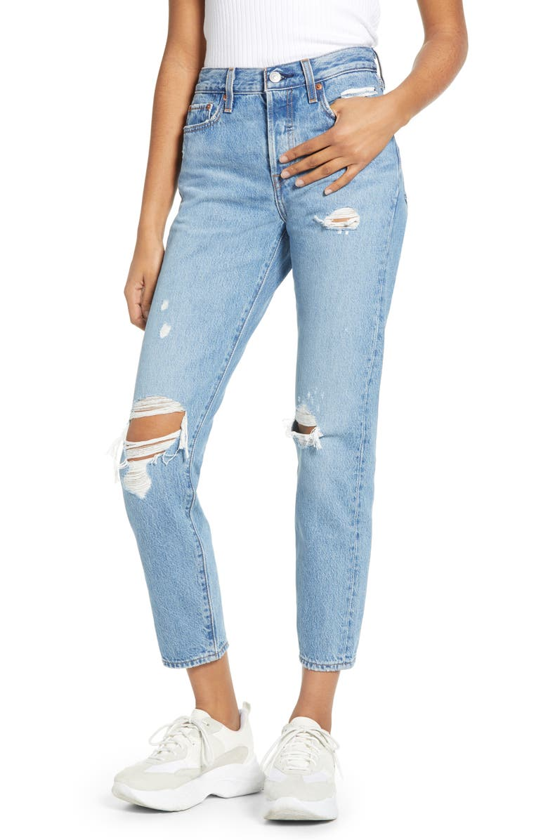 LEVI'S<SUP>®</SUP> Wedgie Icon Fit Ripped Straight Leg Jeans, Main, color, 420