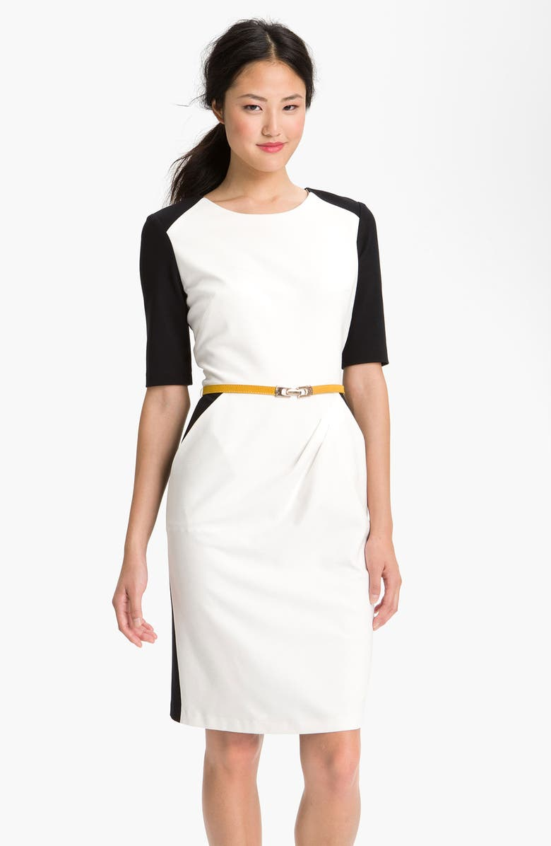 SUZI CHIN FOR MAGGY BOUTIQUE Belted Colorblock Sheath Dress, Main, color, 100
