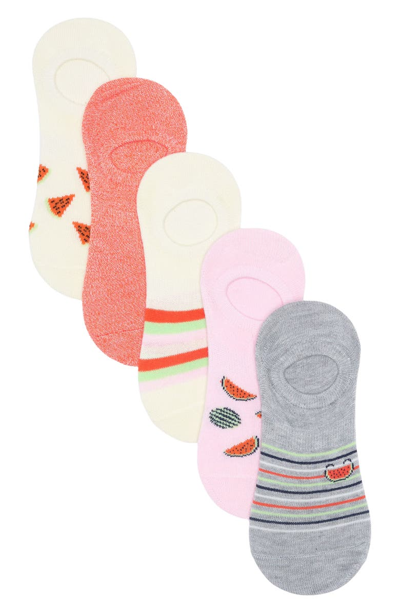 ABOUND Fun No Show Socks - Pack of 5, Main, color, IVORY CLOUD WATERMELON