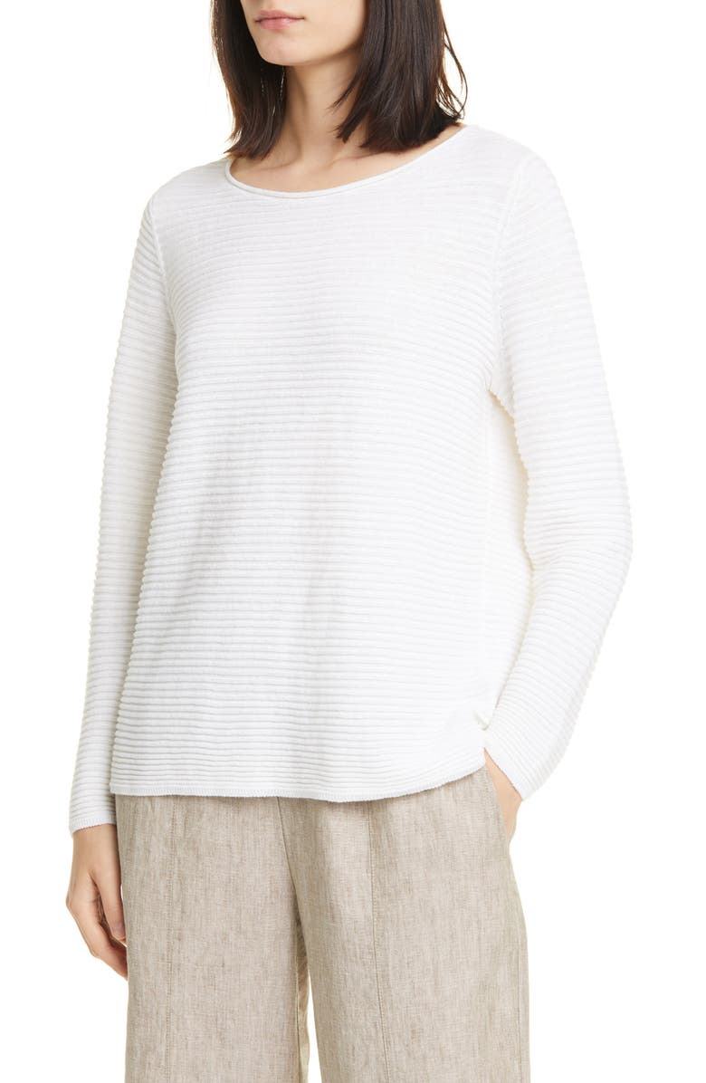 EILEEN FISHER Horizontal Ribbed Organic Linen & Cotton Sweater, Main, color, 100