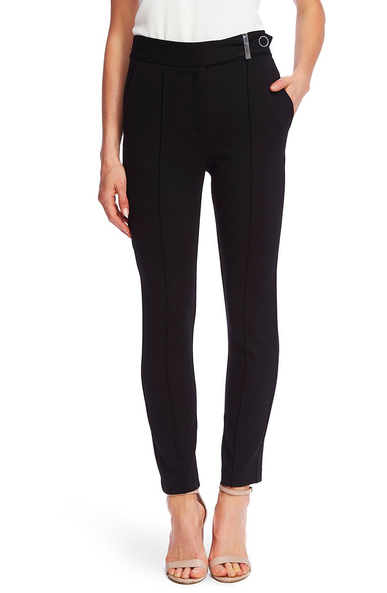CECE Pintuck Tapered Ponte Knit Pants, Main, color, 001