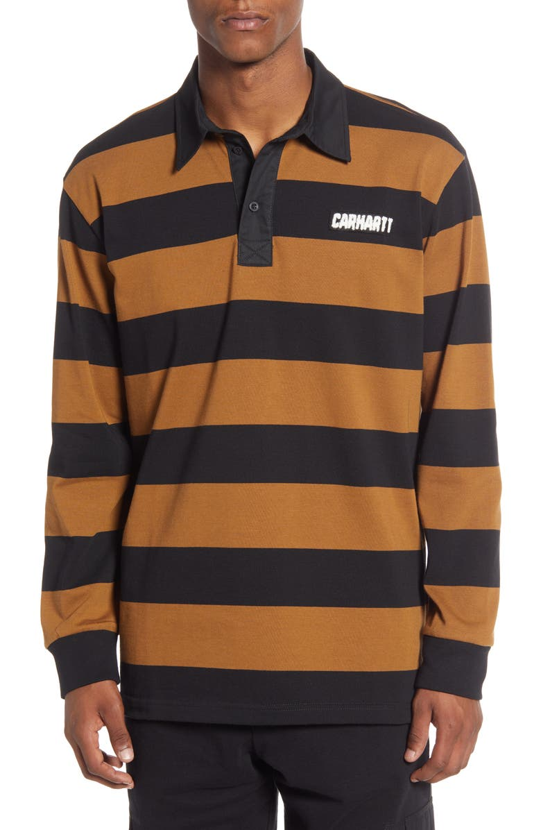 CARHARTT WORK IN PROGRESS Easton Stripe Long Sleeve Rugby Polo, Main, color, 242