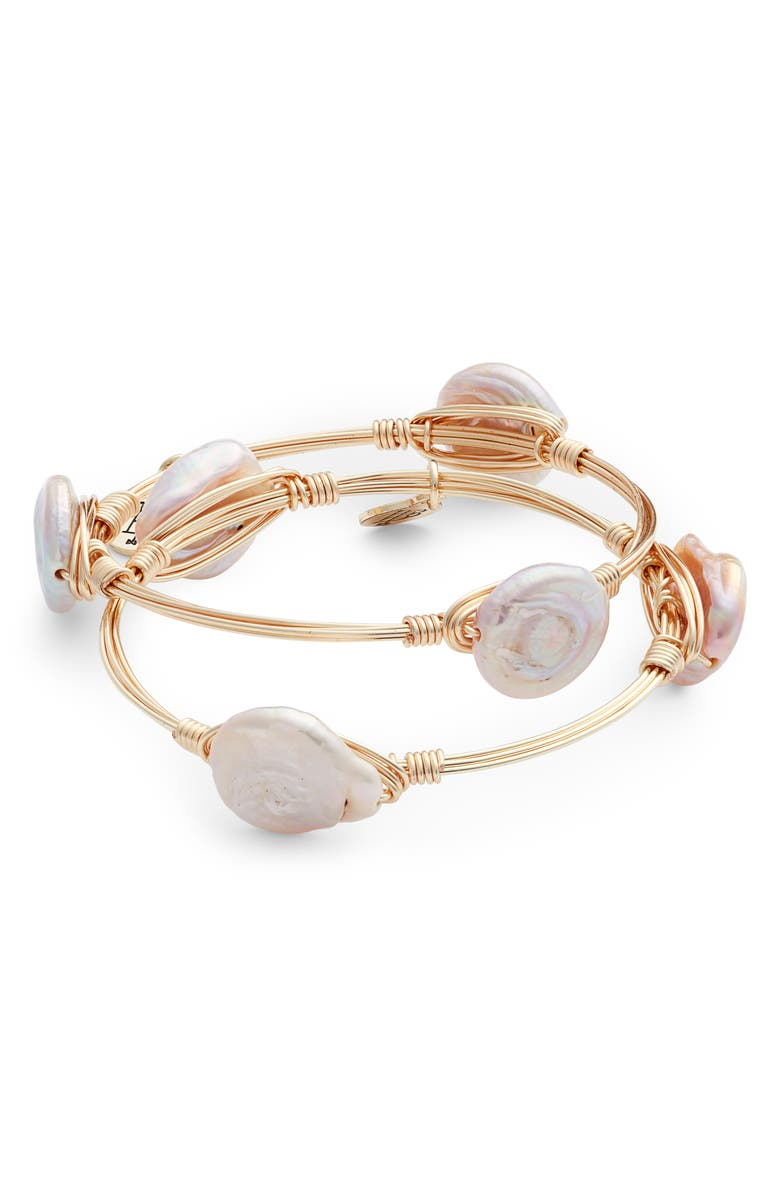 BOURBON AND BOWETIES Bourbon & Bowties Set of 2 Cultured Pearl Wire Wrapped Bangles, Main, color, 651