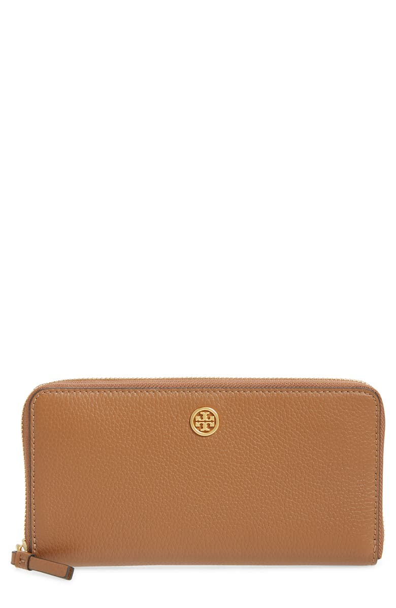 TORY BURCH Walker Leather Continental Wallet, Main, color, MOOSE