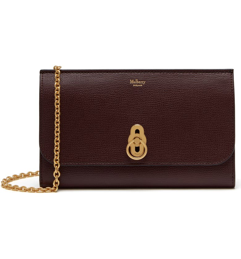 MULBERRY Amberley Calfskin Leather Clutch, Main, color, OXBLOOD
