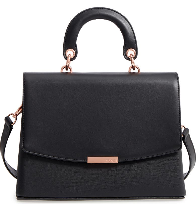 TED BAKER LONDON Keiira Lady Bag Faux Leather Top Handle Satchel, Main, color, 001
