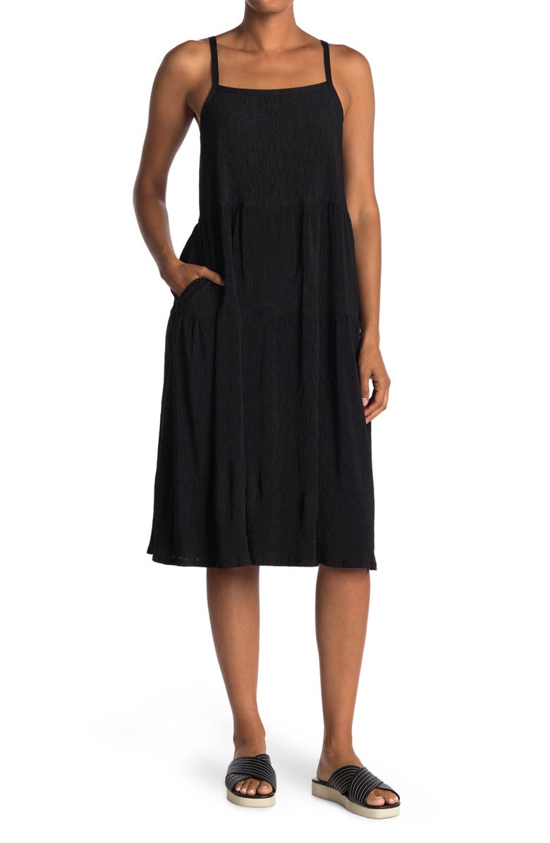 ALL IN FAVOR Tiered Knit Midi Dress, Main, color, BLACK